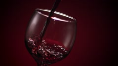 Red Wine Glass Pour Sharp Stock Footage