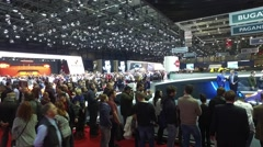 People in Geneva motor show 2016 Stock Footage