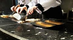 Chef cooking beef menu Stock Footage