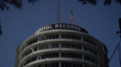 Capitol Records Building in Los Angeles California Stock Footage