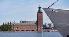 Stockholm City Hall Seaside - stock photo