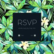 Wedding invitaion or card design with exotic tropical flowers and leaves - stock illustration