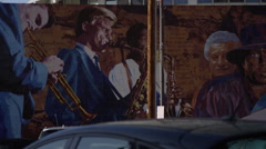 Mural on the side of the Capitol Records Building in Los Angeles Stock Footage