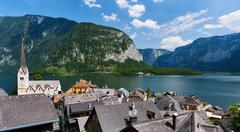 Hallstatt, picturesque village in Austria Stock Photos