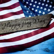 text happy flag day and flag of the United States - stock photo