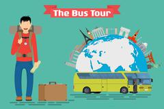 Tourist goes to The Bus Tour of Europe and popular familiar landmarks. - stock illustration