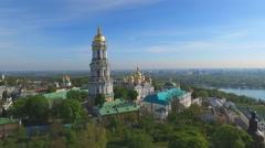 Kiev Lavra. Church on the Background of Kiev - stock footage