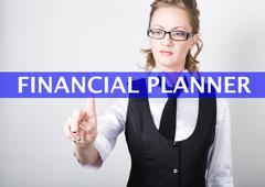 financial planner written on a virtual screen. Internet technologies in business - stock photo