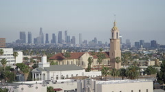 Los Angeles Skyline - Smog and buildings - stock footage