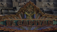 el capitain - famous movie theatre marquee in Los Angeles - stock footage