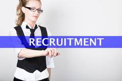 recruitment written on a virtual screen. Internet technologies in business and - stock photo