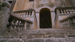 stone staircase of the Villa in Italy - stock footage