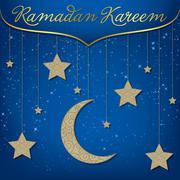 """Ramadan Kareem"" (Generous Ramadan) card in vector format. Stock Illustration"