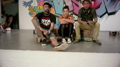 Portrait of graffiti artists at studio. Stock Footage