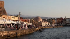 Chania - Venetian harbour - Old city - Crete 1 Stock Footage