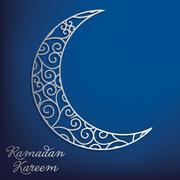 Ramadan Kareem (Generous Ramadan) filigree moon card in vector format. Stock Illustration