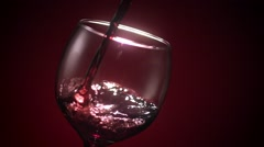 Red Wine Glass Pour Stock Footage