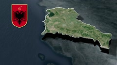 Fier with Coat of arms animation map - stock footage