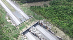 Land Bridge - Wildlife crossing for animals to get across the highway - stock footage