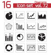 Vector black diagrams icons set - stock illustration
