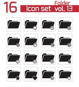 Vector black folder icon set - stock illustration