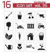 Vector black gardening icons set - stock illustration