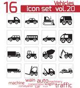 Vector black vehicle icon set - stock illustration