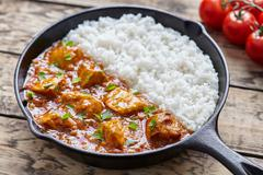 Tikka masala traditional Indian butter chicken spicy meat food - stock photo