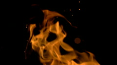 Fire Flames and Sparks on Black Slow Mo Seamless Loop - stock footage