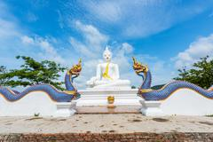 White Buddha statue and serpent in Wat Chom tham at mea on in chiang mai, Tha - stock photo