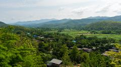 top view of country village in chiang mai, Thailand - stock photo