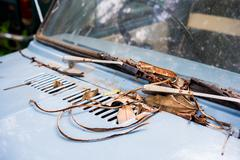 Rusty wipers on an old abandoned car Stock Photos