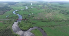 Bends of river - stock footage