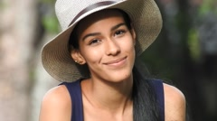 Happy Smiling Teen Girl Wearing Hat Stock Footage