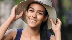 Beautiful Teen Girl Wearing Hat Stock Footage