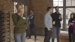 Group meeting and talking at social networking event Stock Footage