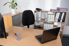 Office desk with laptop, job , redundant, business concept Stock Photos