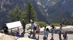 Yosemite National Park, park visitors using telescope Stock Footage