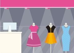 Shop Front Clothing Store Design Flat Style Stock Illustration