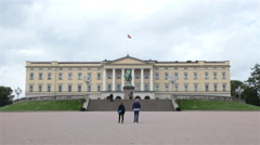 Clouds & People at the Royal Palace Oslo Norway Stock Footage