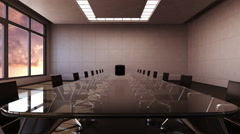 Conference room, brainstorming, forward moving camera, front chairman. sunset. - stock footage