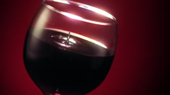 Red Wine Glass Drop Ripple Stock Footage