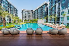 beautiful swimming pool in condominium - stock photo