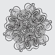 Black and white antique abstract oriental design motifs vector illustration - stock illustration