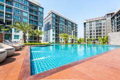 beautiful swimming pool in condominium - stock photo