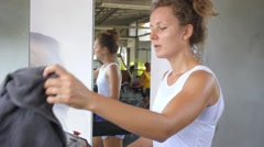 Female Workout in Gym on Trendmill Stock Footage