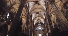 Roof, luster and columns inside the cathedral Stock Footage