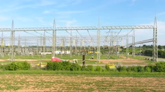 High voltage power transformation station Stock Footage