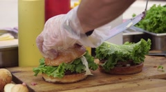 The final stage of cooking burgers Arkistovideo