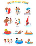 Summer Holidays Color Icons with People - stock illustration